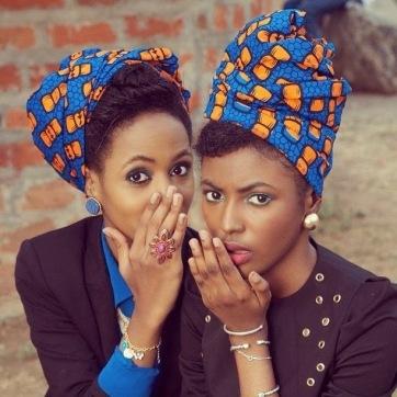 Black-Women-Whispering-Blue-Orange-Ankara-Head-Scarf